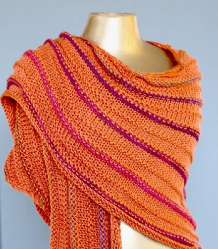 Pumpkin Orange Knitted shawl/scarf